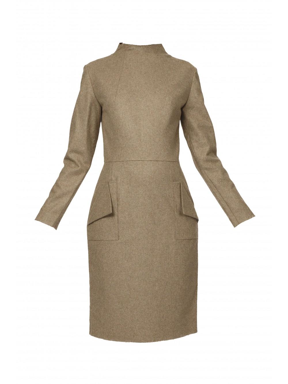 Raw Collar Dress With Folder Pockets   Ache
