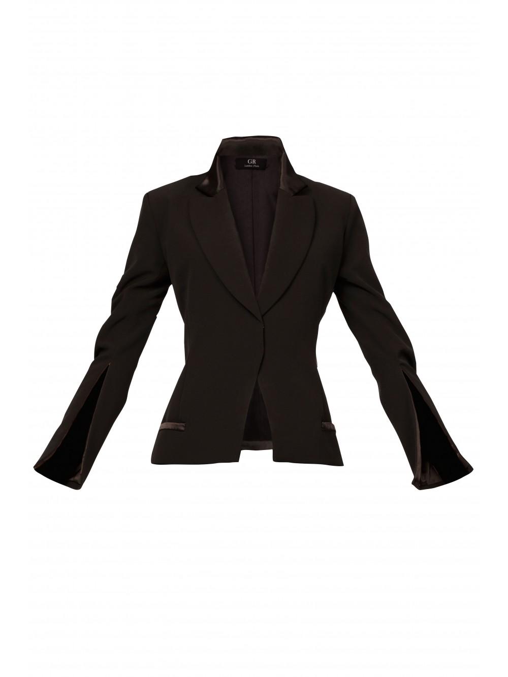 Satin trimmed blazer with split sleeves   Isild