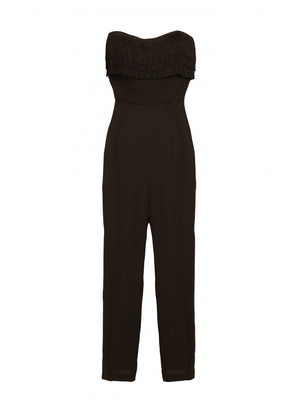 Strapless crepe jumpsuit with fringes | Simplicity