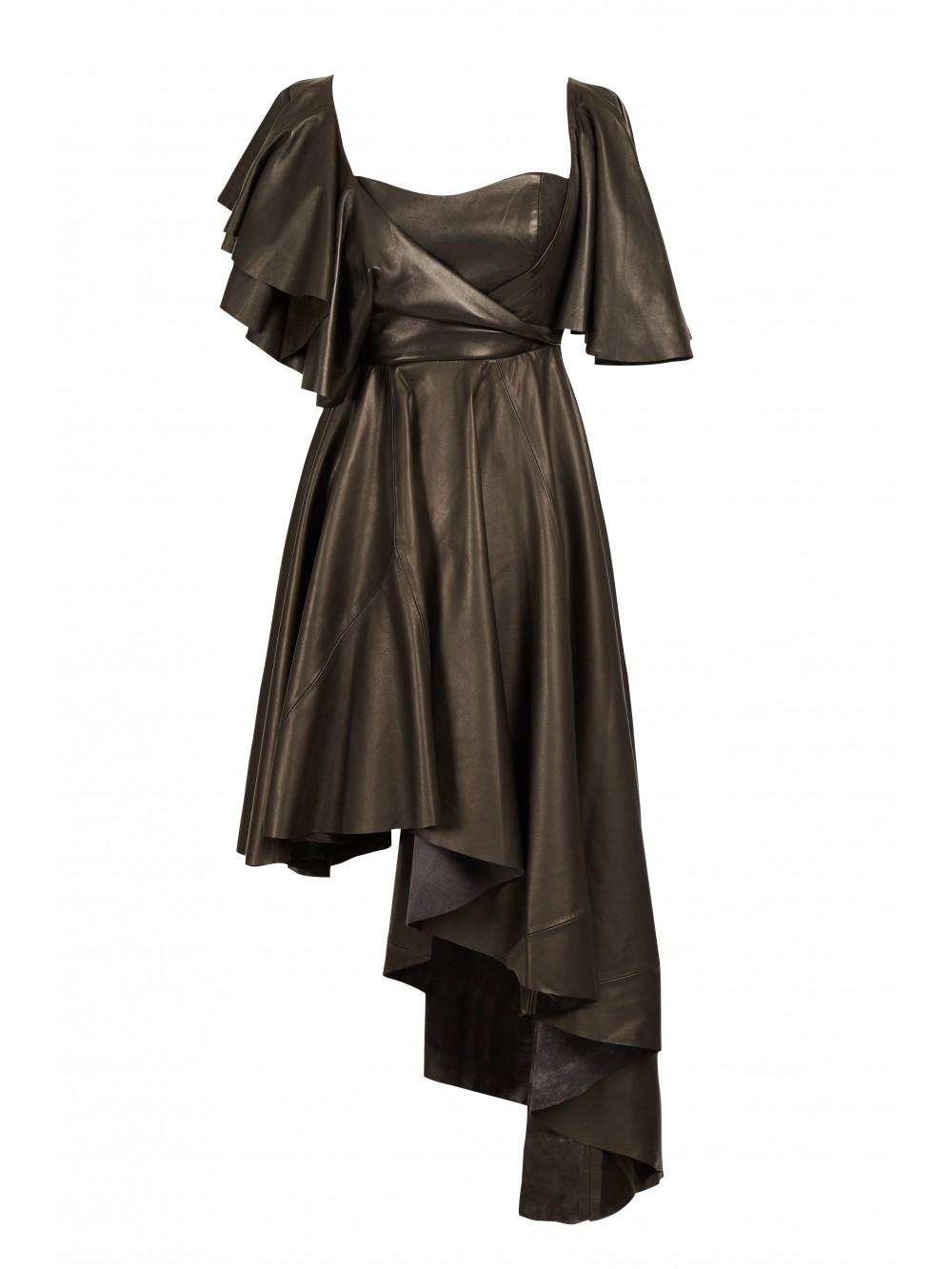 Ruffled leather dress   Faith