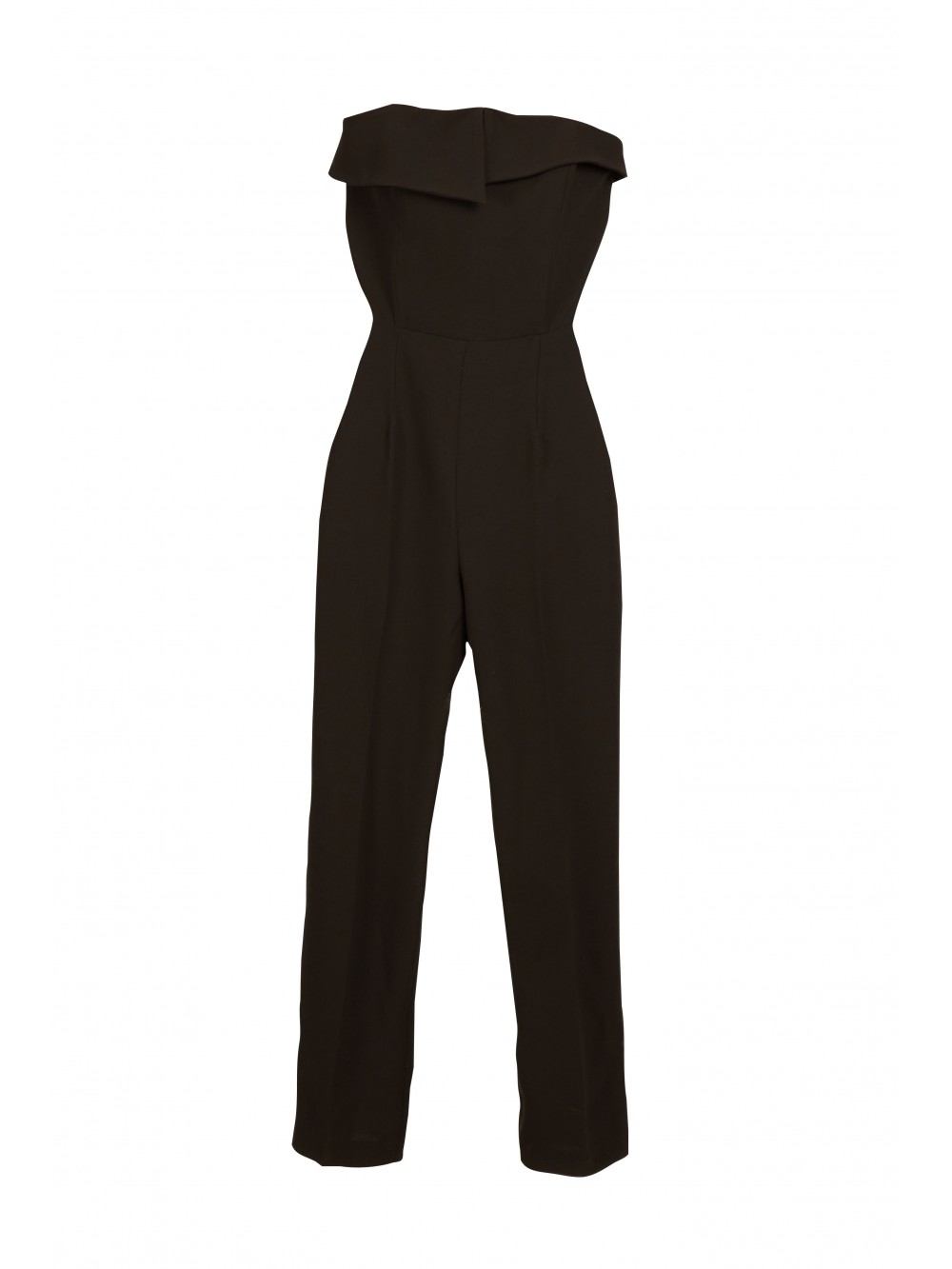 Strapless crepe jumpsuit with asymmetric top panel| Temperance