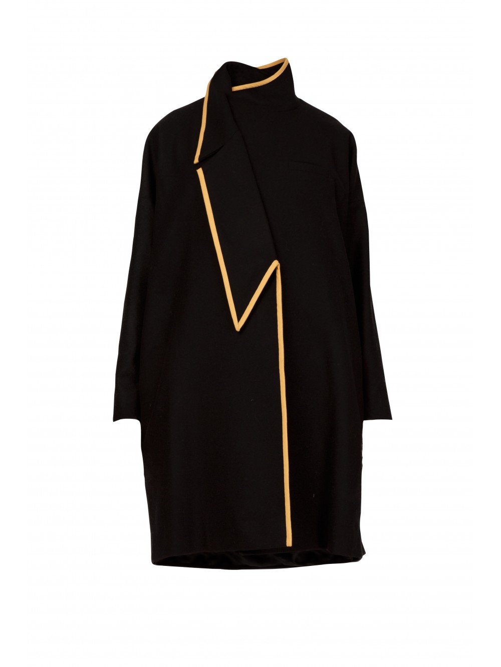 Asymmetric A-Line oversized coat with Gold Bias | Jeanne