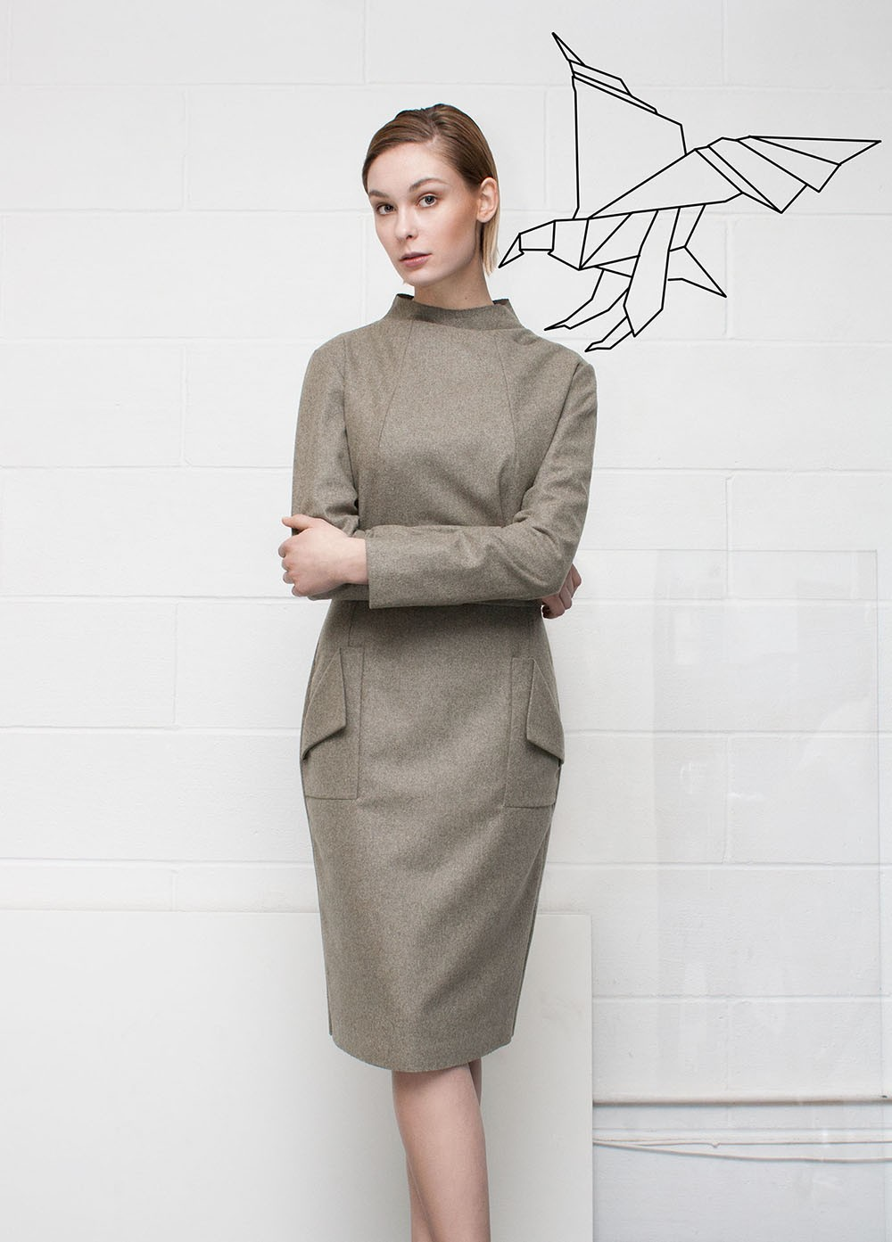 Raw Collar Dress With Folder Pockets | Ache