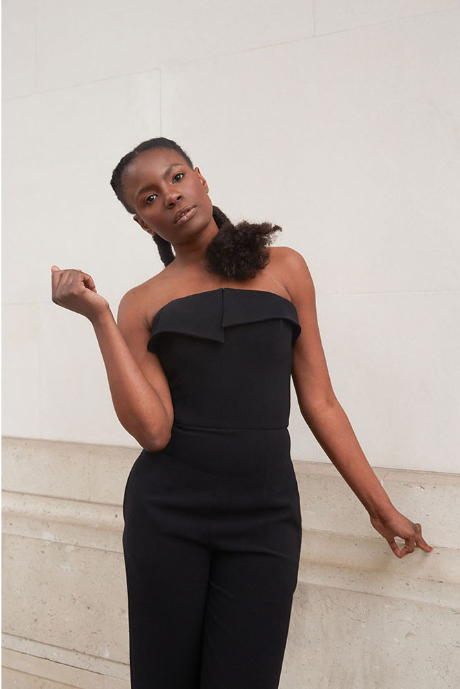 Strapless crepe jumpsuit with asymmetric details I Simplicity