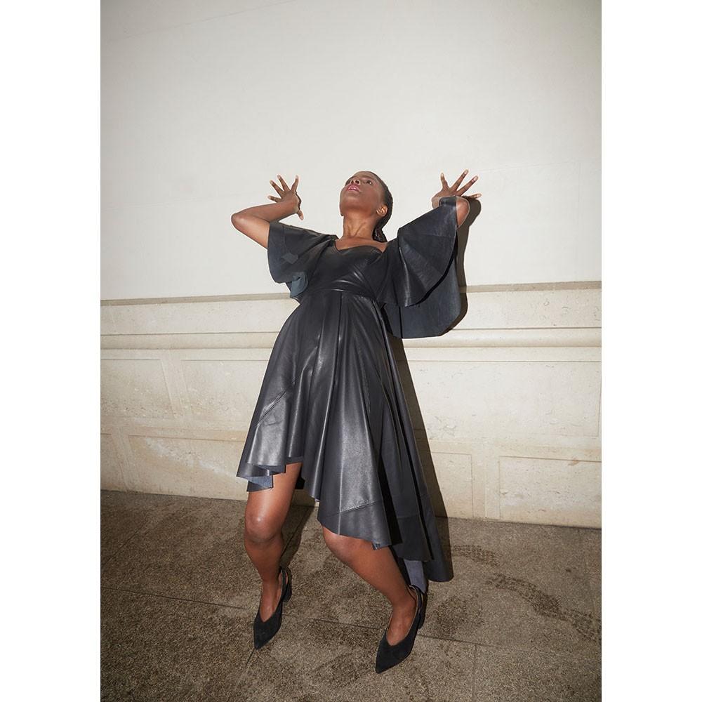 Ruffled leather dress I Faith